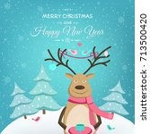 merry christmas happy new year... | Shutterstock .eps vector #713500420