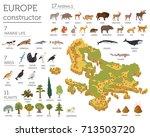 isometric 3d european flora and ... | Shutterstock .eps vector #713503720