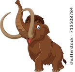 cartoon mammoth isolated on... | Shutterstock .eps vector #713508784