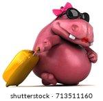 Stock photo pink hippo d illustration 713511160