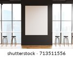 bar interior with gray walls  a ... | Shutterstock . vector #713511556