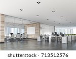two conference rooms with glass ... | Shutterstock . vector #713512576