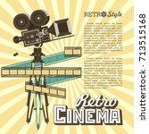 vintage film reel camera.... | Shutterstock .eps vector #713515168