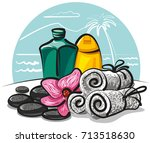 illustration of spa products | Shutterstock . vector #713518630