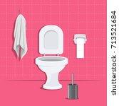 toilet bowl  paper  brush and... | Shutterstock .eps vector #713521684