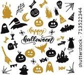 halloween clip art. vector...   Shutterstock .eps vector #713522344