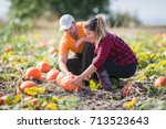two young farmers picking ... | Shutterstock . vector #713523643