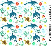 seamless pattern with dolphins... | Shutterstock .eps vector #713526634