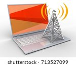3d illustration of laptop over... | Shutterstock . vector #713527099