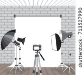 photo studio equipment.... | Shutterstock .eps vector #713527990