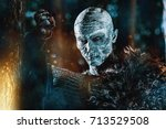 zombie warrior in knightly... | Shutterstock . vector #713529508