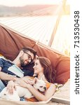 happy hipster couple with... | Shutterstock . vector #713530438