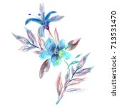 flowers bouquet. watercolor...   Shutterstock . vector #713531470