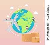 world wide delivery. vector... | Shutterstock .eps vector #713532013