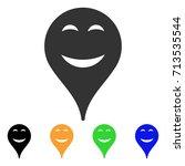 pleasure smiley map marker icon.... | Shutterstock .eps vector #713535544