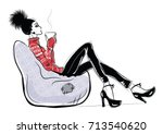 young pretty woman drinking... | Shutterstock .eps vector #713540620