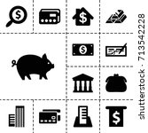 bank icon. set of 13 filled... | Shutterstock .eps vector #713542228