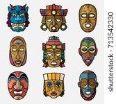 african craft voodoo tribal... | Shutterstock .eps vector #713542330