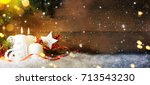 candels with christmas... | Shutterstock . vector #713543230