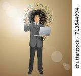 vector idea concept with... | Shutterstock .eps vector #713544994