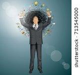 vector idea concept with... | Shutterstock .eps vector #713545000