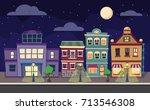 cartoon retro illustration city ... | Shutterstock . vector #713546308