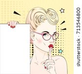 comic pop art blonde hair woman ... | Shutterstock .eps vector #713546800