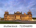 Stock photo berlin night city skyline at reichstag bundestag berlin germany 713546890