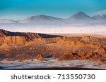 moon valley in atacama desert... | Shutterstock . vector #713550730