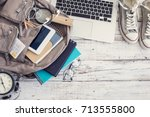 backpack with school supplies | Shutterstock . vector #713555800