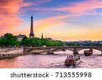 Sunset View Eiffel Tower Seine - Fine Art prints