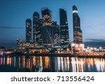 skyscrapers of moscow city... | Shutterstock . vector #713556424