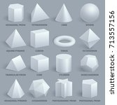 realistic white basic 3d shapes ... | Shutterstock .eps vector #713557156