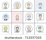 icon set of different faces.... | Shutterstock .eps vector #713557333