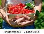 a small crate  with cherries in ... | Shutterstock . vector #713559316