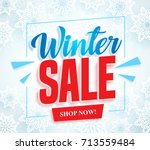 winter sale vector banner with... | Shutterstock .eps vector #713559484