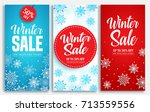winter sale vector poster or... | Shutterstock .eps vector #713559556