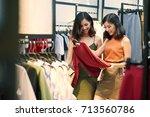 attractive asian women shopping ... | Shutterstock . vector #713560786