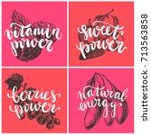 vector hand drawn berries...   Shutterstock .eps vector #713563858