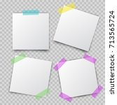 post note paper stickers pin on ... | Shutterstock .eps vector #713565724