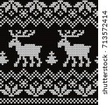knitted seamless pattern deers | Shutterstock .eps vector #713572414