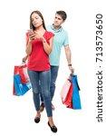 full body of couple carrying... | Shutterstock . vector #713573650