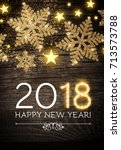 happy new 2018 year poster... | Shutterstock .eps vector #713573788