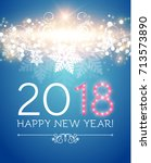 happy new 2018 year. flyer... | Shutterstock .eps vector #713573890