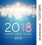 happy new 2018 year. flyer... | Shutterstock .eps vector #713573890