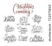 merry christmas brush lettering ... | Shutterstock .eps vector #713575810