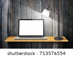 laptop computer with blank...   Shutterstock . vector #713576554