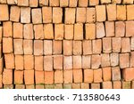 brick lined in rows. | Shutterstock . vector #713580643