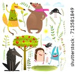 Stock vector wild funny forest objects and animals set colorful watercolor style animals collection vector 713581849