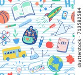 back to school seamless pattern.... | Shutterstock .eps vector #713582584